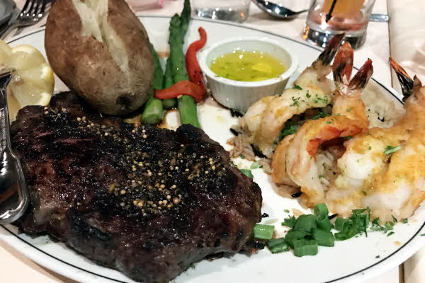 Rib Eye Steak & Jumbo Shrimp Proven�ales thumbnail (click to enlarge)