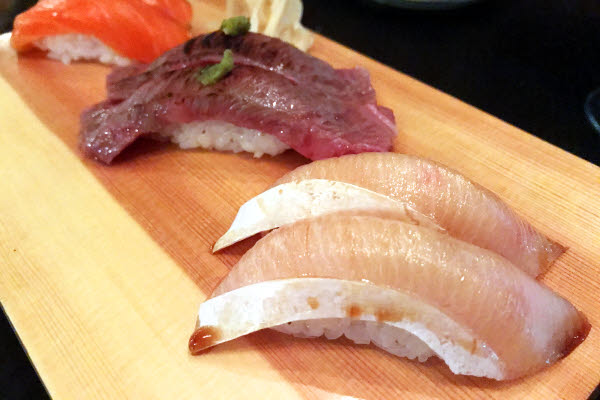 Hamachi, Wagyu & King Salmon Nigiris thumbnail (click to enlarge)